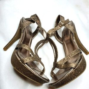 Unlisted Gold Shimmer Glitter Strappy Heels